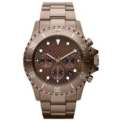 Michael Kors MK8268 Mens Everest Espresso Brown Stainless Steel Brown Dial Chronograph Watch $220