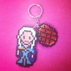 Game of Thrones:Khaleesi/Daenerys argaryen & Dragon egg keyring perler bead sprite by Worldof8bitCraft