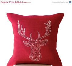 Valentine SALE Deer Pillows  Animal pillow Cover by AmoreBeaute