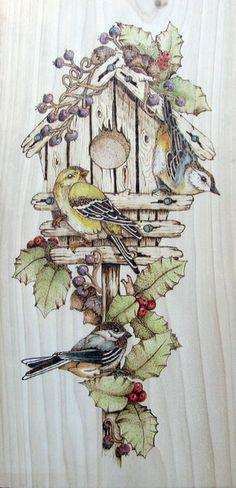 Winter bird house pyrography & watercolor by Corby, pattern from L.Irish / Pyrogravure & aquarelle d'un nichoir d'oiseaux en hiver par Corby, patron de L. Irish