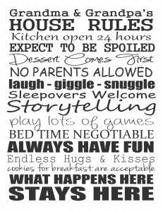 Free Printable - Grandma & Grandpa's House Rules