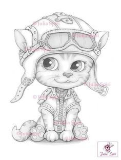 Cat Coloring Page, Animal Coloring Pages, Adult Coloring Pages, Coloring Books, Pet Gear, Dragon Pictures, Digital Stamps, Easy Drawings, Cute Art