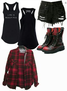 I need plaid outfits, edgy outfits, grunge outfits, rock chic outfits, girl Grunge Outfits, Rock Chic Outfits, Plaid Outfits, Punk Outfits, Grunge Fashion, Gothic Fashion, Trendy Outfits, Girl Outfits, Batman Outfits