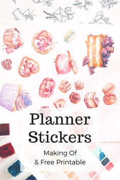 Free Printable and a look behind the scenes of how I create my planner stickers, hand painted in watercolors and then arranged in Photoshop and InDesign. Evy Draws.