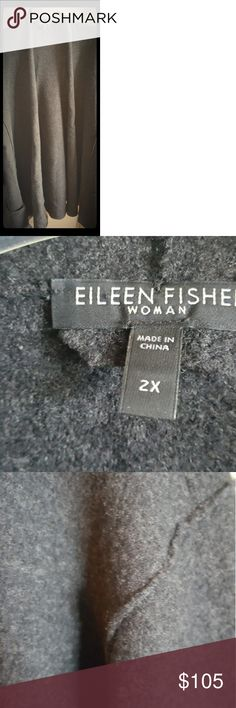 Gorgeous soft grey wool Eileen Fisher swing Coat Feels amazing on.  Classic unstructured swing coat in delicious soft boiled wool.  Wrap yourself up in it.   Generous in proprtion.  Falls mid thigh. Eileen Fisher Jackets & Coats Blazers