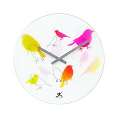 The Perfect Perch Wall Clock offers a delicate work of art that also tells time. We love its careful use of brightly colored birds, interspersed with faded shapes and mere silhouettes. For the nature-l...  Find the Perfect Perch Wall Clock, as seen in the Happy Danish Modern Collection at http://dotandbo.com/collections/happy-danish-modern?utm_source=pinterest&utm_medium=organic&db_sku=104821