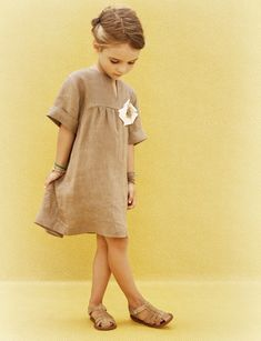 """An effortlessly elegant linen piece with a playful """"corsage,"""" from Milan-based Amelia. Little Girl Fashion, My Little Girl, Little Girl Dresses, My Baby Girl, Fashion Kids, Toddler Fashion, Girls Dresses, Kids Outfits, Cute Outfits"""