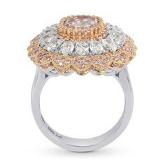 Very Extraordinary Fancy Orangy Pink Cushion Diamond Ring, (3.83Ct TW). truly worthy of Royalty, with a filigree setting work of Pink, White and Rose Diamonds set in a band of 18K Rose and White Gold and Platinum. Perfect High Jewelry