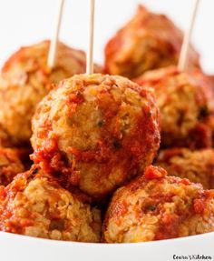 Chickpea meatballs!!!  I will use ground oats instead of wheat flour to make them gluten free.  Yum!