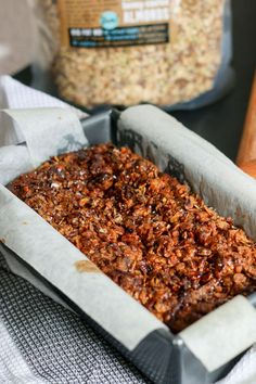 Delicious Dairy-free Banana Crunch loaf topped with a crunchy crumble ...
