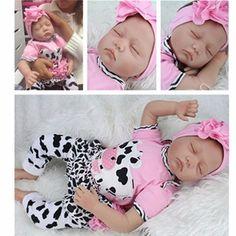 "22"" Handmade Reborn Baby Doll Newborn Lifelike Soft Silicone Vinyl Sleeping Girl"