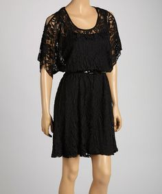 Look at this #zulilyfind! Black Lace Belted Cutout Dress by HĀLO by Heart Soul #zulilyfinds
