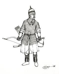 Kabardin-Circassian cavalryman of Temryuk Idarovich (Temryuk-Murza). Types Of Armor, Military Costumes, Byzantine, Archery, Georgian, Soldiers, Warriors, Armour, Bows