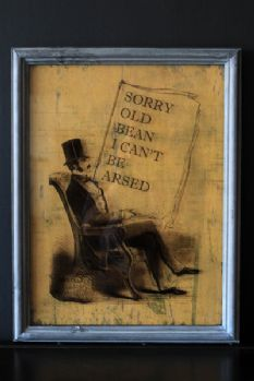 Sorry Old Bean I Can't Be Arsed - Framed Print on Glass