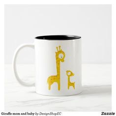 Shop Giraffe mom and baby Two-Tone coffee mug created by DesignShopEC. Giraffe Decor, Design Shop, Mom And Baby, Day Up, Morning Coffee, Cute Kids, Dinnerware, Color Pop, Coffee Mugs