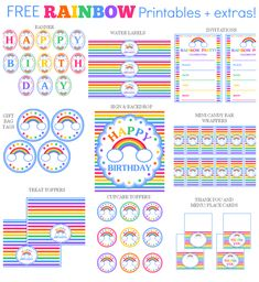 Rainbow Birthday Party Printables The free printable set includes invitations, gift tags, and a inch sign which can be used as a greeting card. Additional items can be added below. If you'd like the item(s) personalized, please add your text in the bo Rainbow Unicorn Party, Rainbow Birthday Party, Rainbow Theme, Birthday Party Games, Unicorn Birthday, Free Birthday, Happy Birthday, Jasmin Party, Rainbow Birthday Invitations
