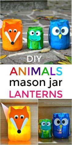 Transform a regular mason jar into an adorable animal mason jar lantern! This is a fun and simple craft you can make with your kids! jar Crafts Animal Mason Jar Lanterns - Frogs and Fairies Cute Diy Crafts, Owl Crafts, Kids Crafts, Easy Crafts, Creative Crafts, Pot Mason Diy, Mason Jar Crafts, Animal Crafts For Kids, Diy For Kids