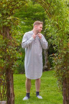 Nightshirt Lee Valley Flannel Mens - LV2 Blue/Ivory Stripe  #flannelnightgowns #grandfathershirt #collarlessshirt #irishflannel #irishshirts #collarless #flannelshirts #shopirish #leevalleyireland #fabulousflannel