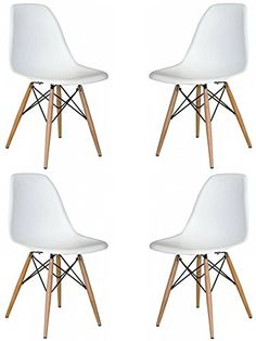 Mid Century Modern Eames Style Chairs 4 Pack (White) - http://centophobe.com/mid-century-modern-eames-style-chairs-4-pack-white/ -
