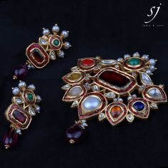Gem-set Navratna Pendant Earrings by SJ.Jadia !
