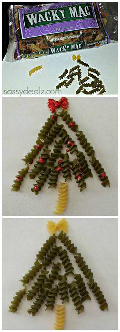 Noodle Christmas Tree Craft For Kids Homemade Card Idea #DIY #Christmas craft for kids  | CraftyMorning.com