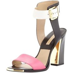 Pre-owned Michael Kors Carson Colorblock Heels Black, Pink, White... ($179) ❤ liked on Polyvore featuring shoes, sandals, white leather sandals, ankle strap sandals, pink sandals, black chunky heel sandals and white sandals