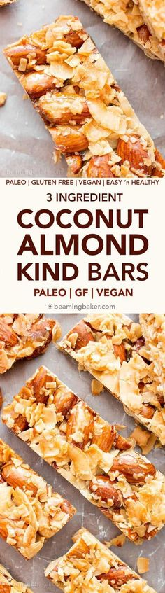 3 Ingredient Homemade KIND Coconut Almond Bar Recipe (V GF): an easy recipe for homemade paleo KIND bars packed with crunchy almonds and sweet coconut. Only 107 calories sugar carbs each. Paleo Vegan, Vegan Snacks, Vegan Desserts, Vegan Gluten Free, Healthy Snacks, Paleo Bars, Paleo Diet, 5 2 Diet, Dairy Free Recipes