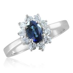 gemstone Diana Diamond and Sapphire Ring in 14k White or Yellow Gold (1.10 cttw), 6x4mm