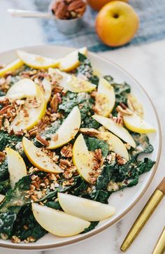 Kale and Asian Pear Salad by ahouseinthewoods - healthy(er) recipes 2 Healthy Salad Recipes, Whole Food Recipes, Vegetarian Recipes, Cooking Recipes, Pear Salad, Kale Salad, Clean Eating, Healthy Eating, Eating Light