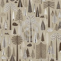 Seamless pattern of coniferous forest.Vector