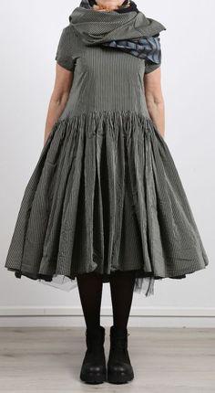 rundholz - Kleid Cotton Seide olive stripe - Sommer 2017