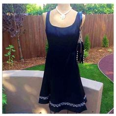 Last Chance! Classic and SEXY LBD! Very pretty little black dress by Jones Wear. Purchased several years ago, never worn. Hemline embellishments add a touch of flair. In flawless condition, from a pet/smoke free home. Jones Wear Dresses