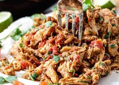 Easy Slow Cooker Shredded Mexican Chicken simmered with Mexican spices, salsa and green chilies for amazingly flavorful chicken for tacos, burritos, nachos, . Slow Cooker Mexican Chicken, Slow Cooked Chicken, Chicken Cooker, How To Cook Chicken, Chicken Flavors, Chicken Recipes, Confort Food, Mexican Food Recipes, Ethnic Recipes
