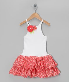White & Cerise Floral Ruffle Dress - Infant, Toddler & Girls