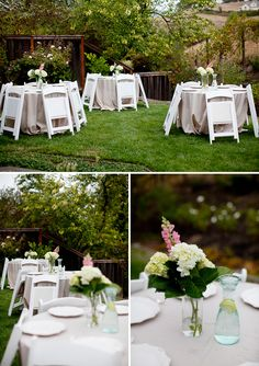 hydrangeas in mason jars and water pitchers on each table