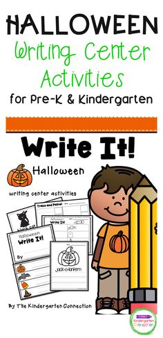 This Halloween Writing Center is perfect for Pre-K, Kindergarten, and 1st-grade students to get them labeling, writing, and creating! The Halloween pack is 28 pages long, comes in color and black & white, and contains 5 different learning activities that will help students build writing skills and develop engaging writing routines! Punctuation Activities, Kindergarten Writing Activities, Literacy Skills, Writing Skills, Learning Activities, Writing Prompts For Kids, Writing A Book, Writing Station, Halloween Activities
