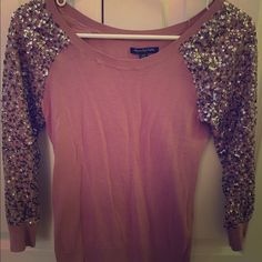 Glitter sleeve sweater American Eagle sequin sleeved sweater. Light pink in color. American Eagle Outfitters Sweaters Crew & Scoop Necks