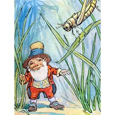Gnome Greeting Card - Garden Elf with Grasshopper - Repro Johnny Gruelle