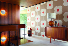 'Giant Abacus Flower' from Harlequin's 'Orla Kiely' wallpaper collection features an oversized, retro inspired floral! It looks great when teamed with mid-century furniture.