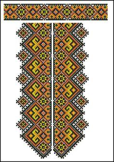Cross stitching , Etamin and crafts: Traditional cross stitch Pattern Folk Embroidery, Cross Stitch Embroidery, Embroidery Patterns, Cross Stitch Borders, Cross Stitching, Cross Stitch Patterns, Palestinian Embroidery, Needlepoint Stitches, Crochet Diagram