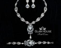 Sapphire Necklace Pearl Necklace Parelsnoer bruids door GlamHouse