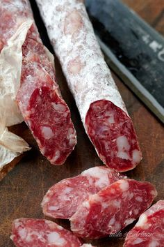 This homemade version is fantastic, and only takes 4 weeks to cure. Salami Recipes, Charcuterie Recipes, Meat Recipes, Cooking Recipes, Oven Recipes, Vegetarian Cooking, Dried Sausage Recipe, Homemade Sausage Recipes, Snack Stick Recipe