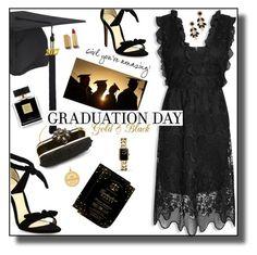"""Golden Grad"" by nineseventyseven ❤ liked on Polyvore featuring Avon, Alexandre Birman, Vera Bradley, Oscar de la Renta, Chanel, Graduation, blackdress and celebration"