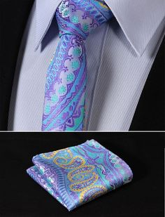"TF3004B5 Blue Yellow skinny floral 2.17"" 100%Silk Woven Slim Skinny Narrow Men Tie Necktie Handkerchief Pocket Square Suit Set"