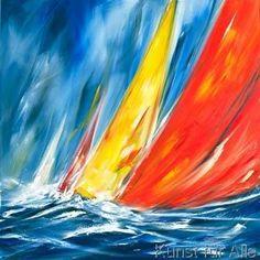 Dynamic Sail II of artist Ines Ramm, Sail, Dynamic Sailboat Art, Sailboat Painting, Sailboats, Sun Painting, Seascape Paintings, Watercolor Flowers, Watercolor Art, Art Images, Sailing