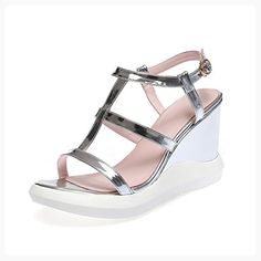 1df37df534e5e3 AllhqFashion Women s Buckle High Heels Pu Solid Open Toe Sandals