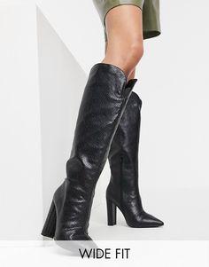 Public Desire Wide Fit Slow knee high boots in black snake | ASOS Public Desire, Knee High Boots, Snake, Asos, Heels, Fitness, Black, Fashion, Heel