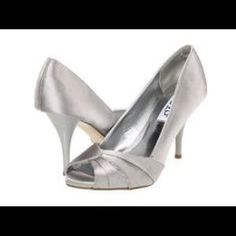 986351738 RSVP Silver Satin classic Open Toe High Heels New. Price   30 Size