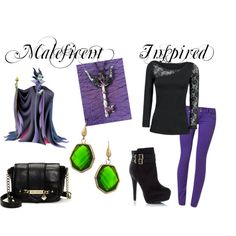 Love this Maleficent outfit from Polyvore because it is CASUAL. I mean how often would I get to wear a sweeping dress or cape like Maleficent wears?  I still wouldn't wear shoes like these but at least it is a more realistic Maleficent-themed goal especially helpful if you are not looking for a Halloween costume. #maleficent #casual