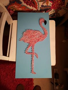 DIY flamingo string art